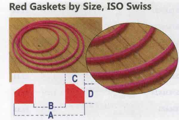 RED HARD PLASTIC WATCH GASKETS