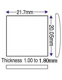 20.05 x 21.70mm (1.00 to 1.65mm) (JJ)