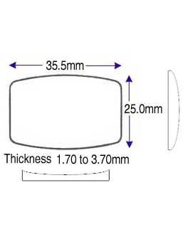 25.00 x 35.50mm (1.70 to 3.70mm) (D)