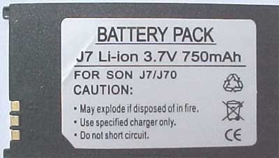 J7 Replacement for Sony Ericsson Battery.