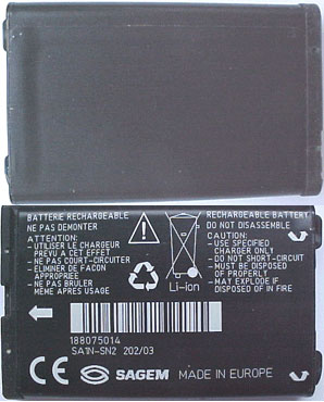 MYX5 Sagem Replacement Mobile Phone Battery