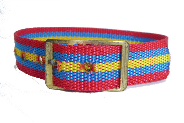 12mm Nylon Red Blue Yellow watch strap Gilt