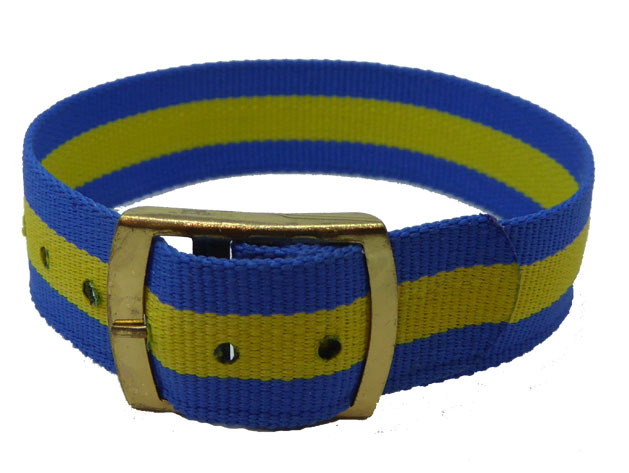 16mm Blue Yellow Coloured nylon watch straps Length 115mm