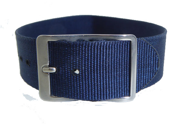 16mm Nylon Weave Watch Strap Blue Chrome