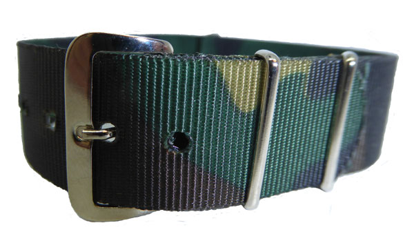 Nylon Weave Watch Strap Colour Green /Brown 18mm