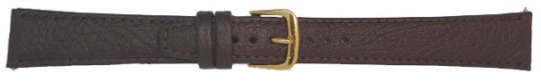 Plain Brown Leather Straps, Gilt 8mm