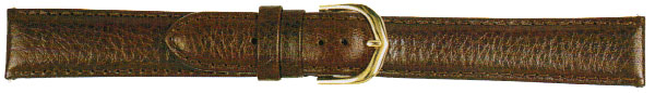 Dark Brown Leather Straps, Gilt 10mm