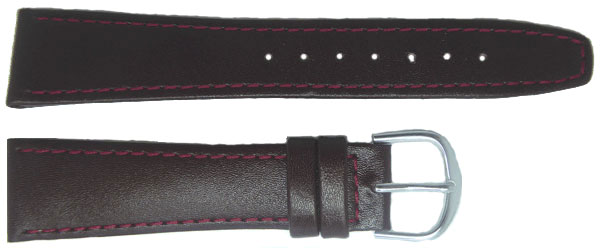 Burgundy Leather Straps Chrome 8mm