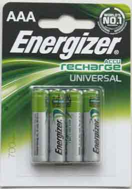 Energizer ACCU Recharge AAA R03/ Micro,700 mAh 1.2V Rechargeabl