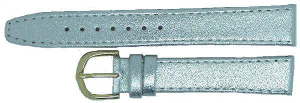 Silver Leather Calf Straps Gilt 14mm